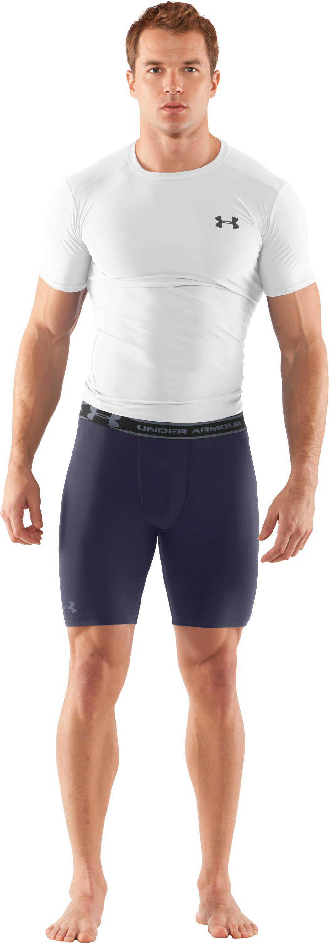 "Men's HeatGear® Compression 7"" Shorts, Midnight Navy, Front"