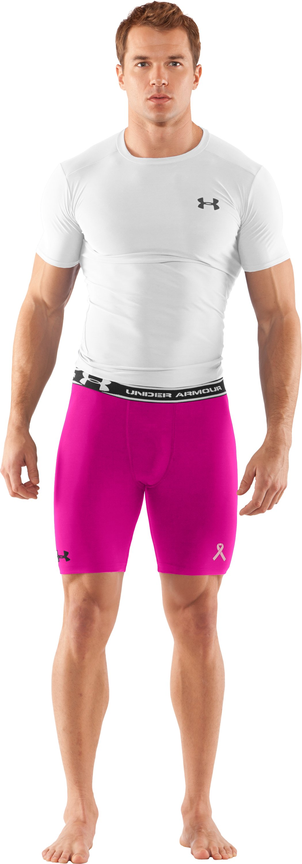 "Men's HeatGear® Compression 7"" Shorts, Tropic Pink, Front"