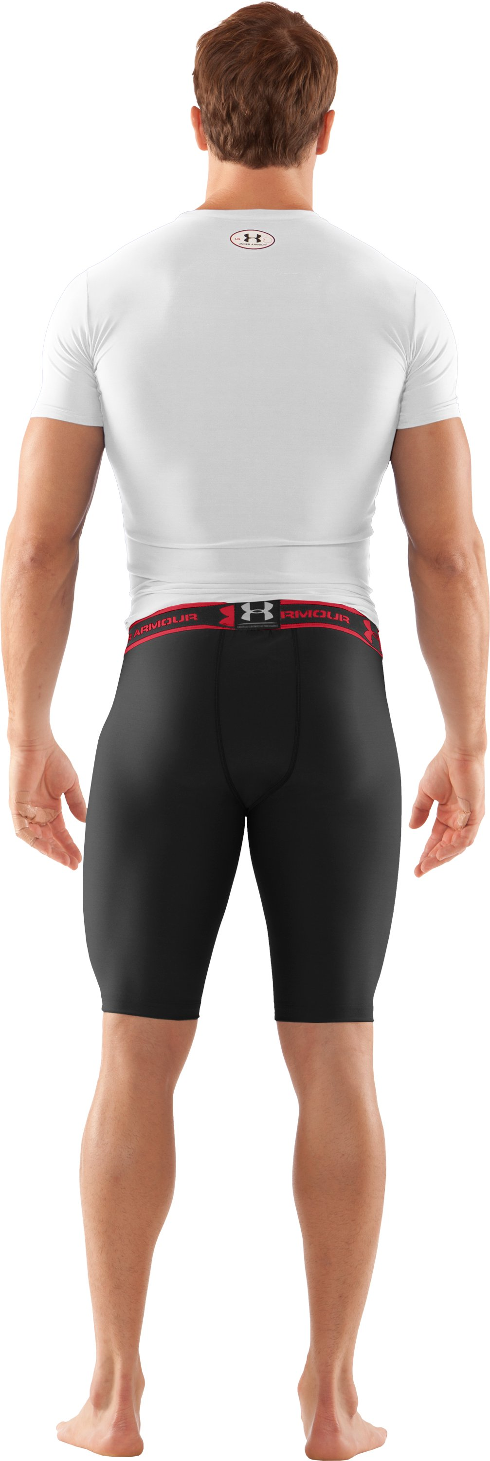 "Men's HeatGear® Compression 9"" Shorts, Black , Back"