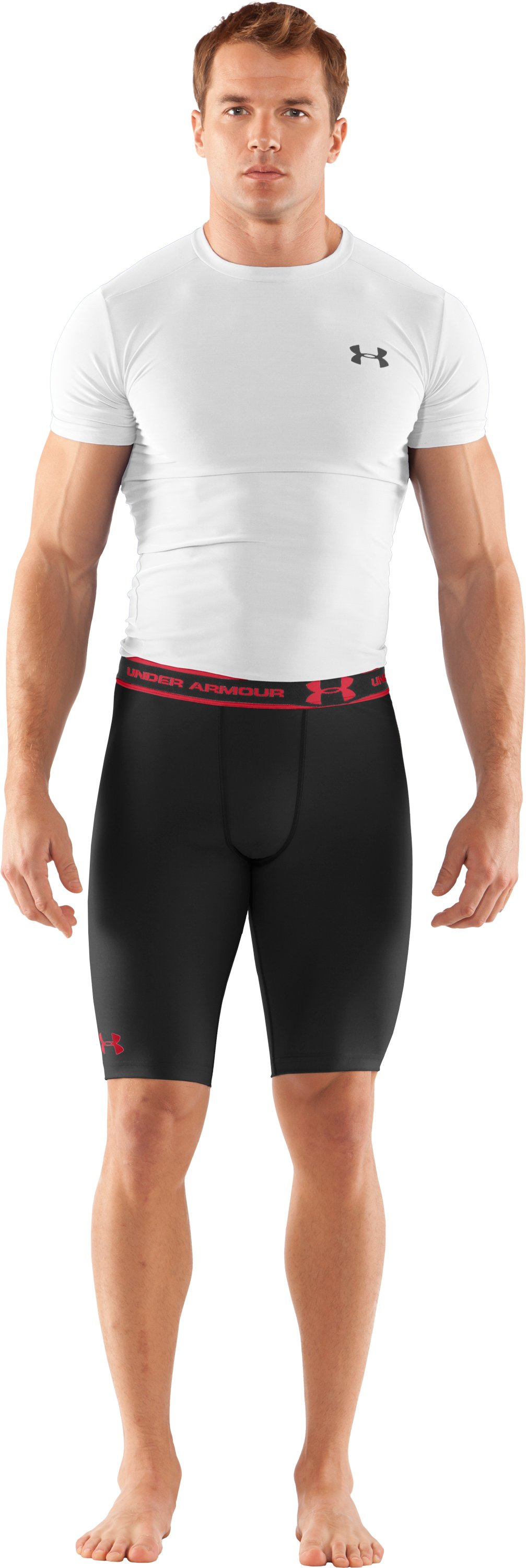 "Men's HeatGear® Compression 9"" Shorts, Black , zoomed image"