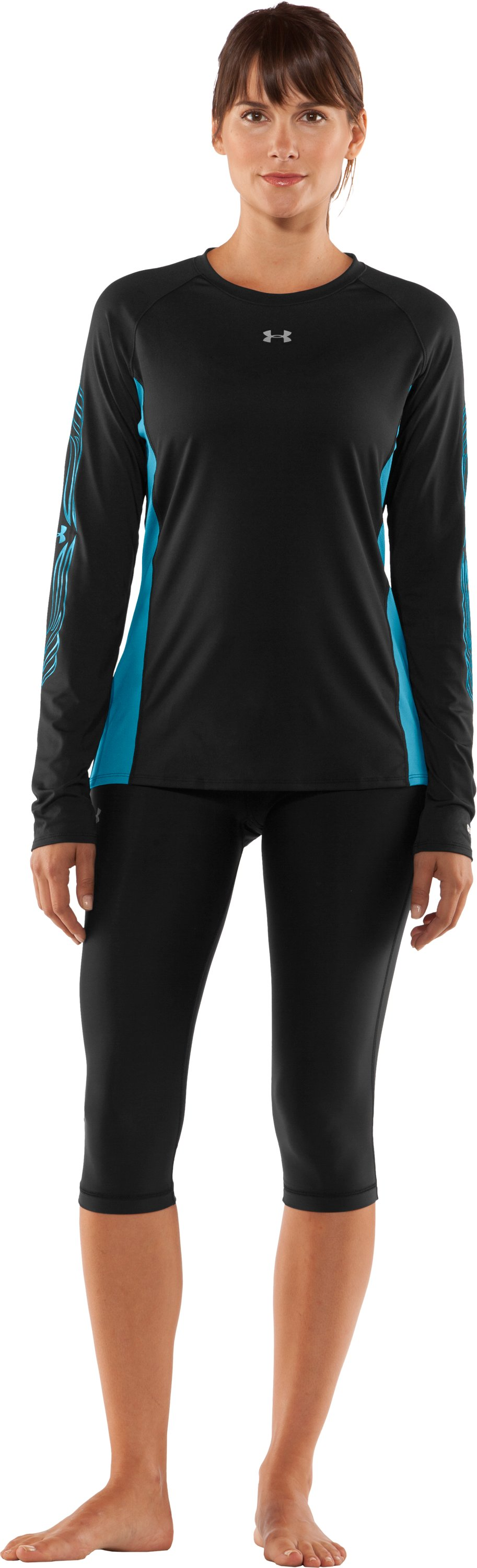 Women's UA Hockey Fitted Long Sleeve, Black , Front