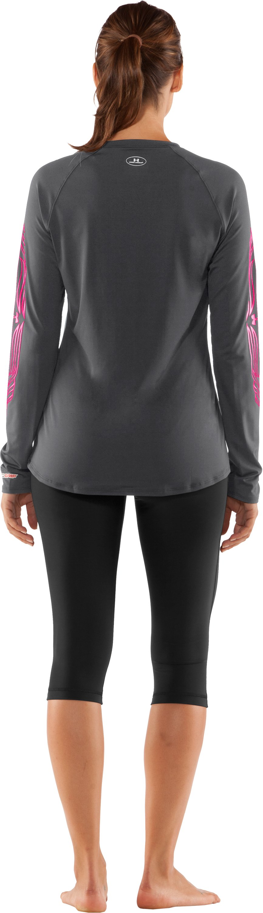 Women's UA Hockey Fitted Long Sleeve, Graphite, Back