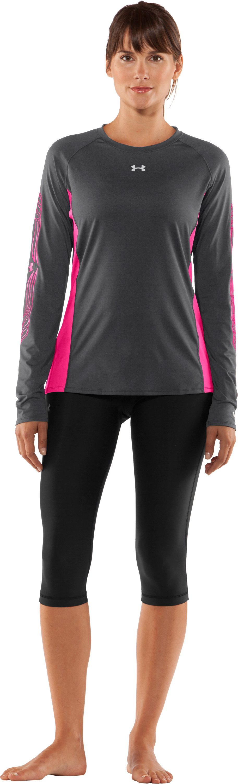 Women's UA Hockey Fitted Long Sleeve, Graphite, Front