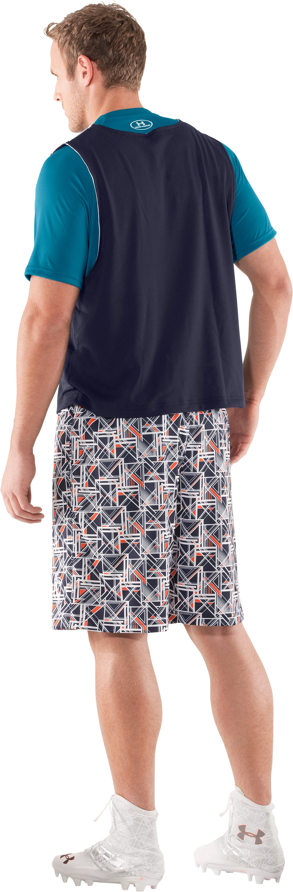 "Men's UA Howie Dewdat 10"" LAX Shorts, Midnight Navy, Back"
