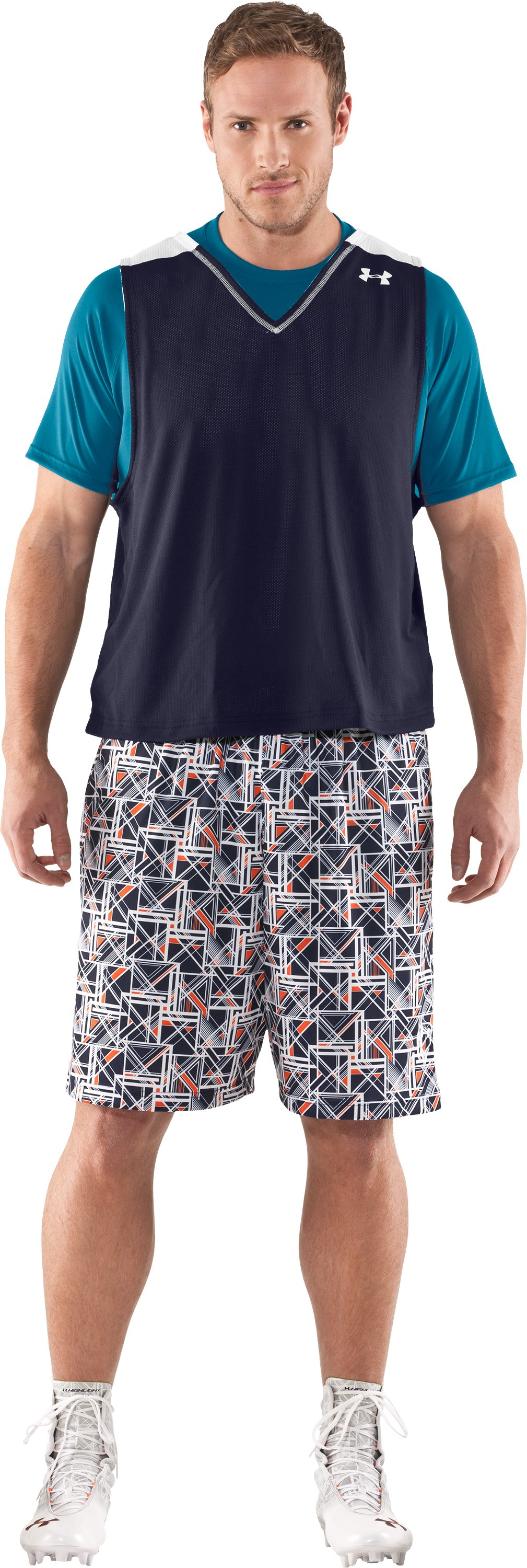 "Men's UA Howie Dewdat 10"" LAX Shorts, Midnight Navy, Front"