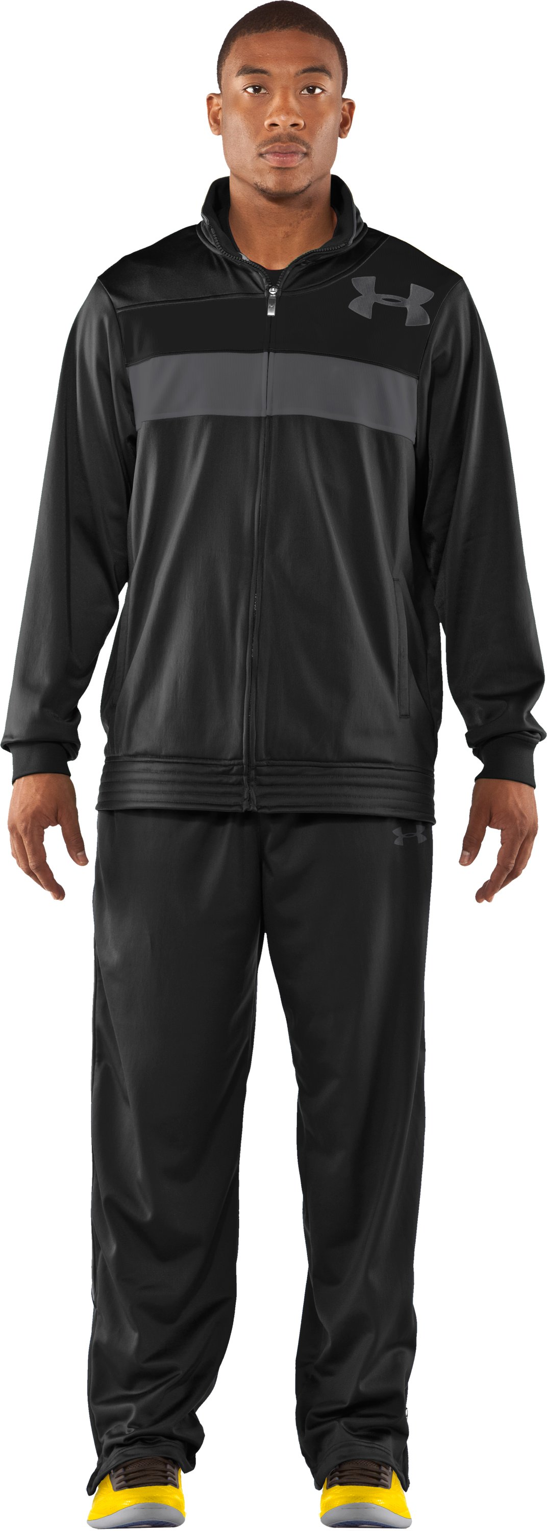 Men's UA Bedstock Warm-Up Jacket, Black , Front