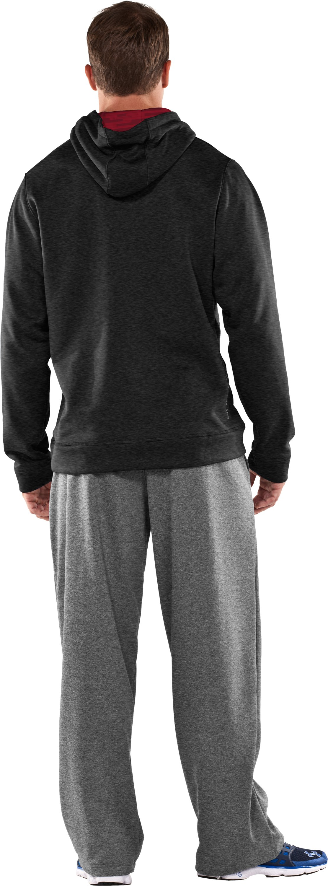 Men's Armour® Fleece Storm Big Logo Hoodie, Asphalt Heather, Back