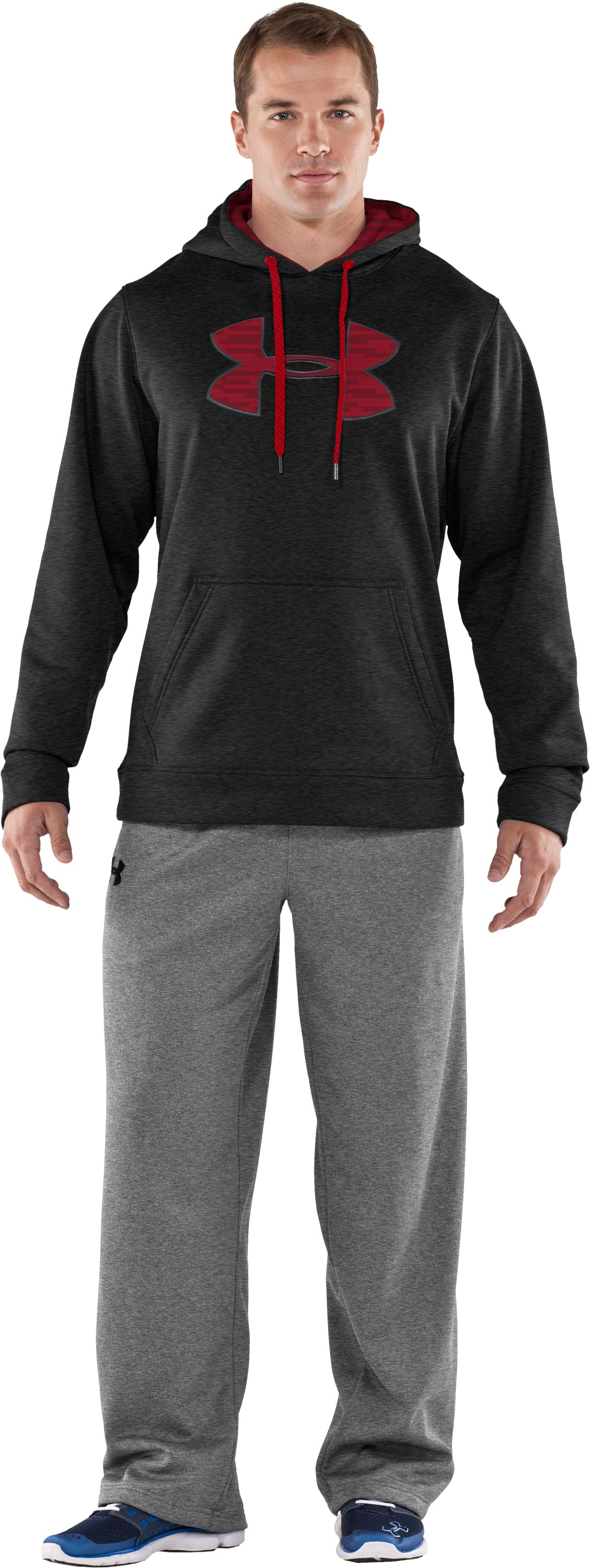 Men's Armour® Fleece Storm Big Logo Hoodie, Asphalt Heather, Front