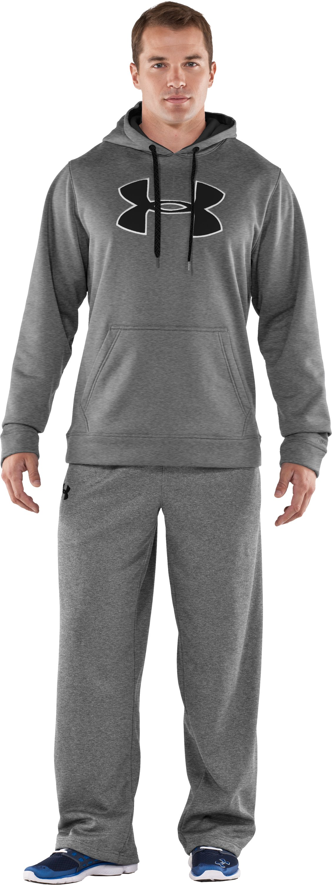 Men's Armour® Fleece Storm Big Logo Hoodie, True Gray Heather, Front