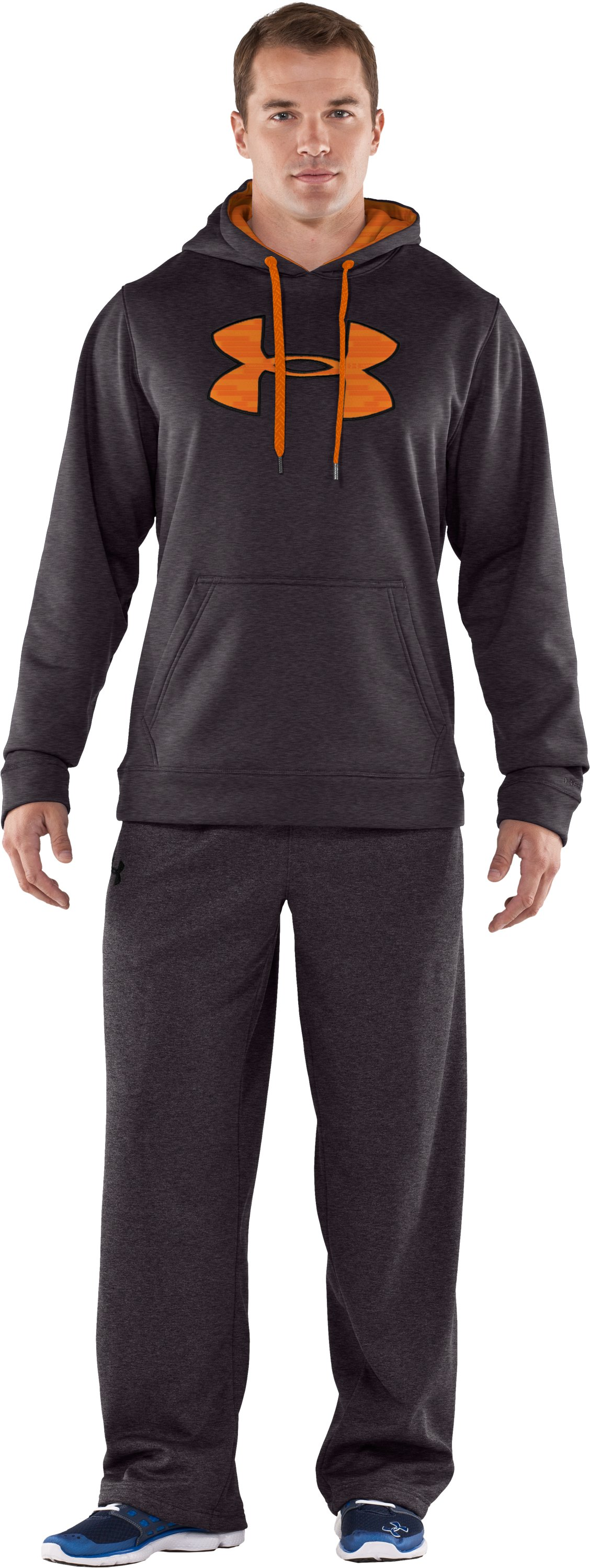 Men's Armour® Fleece Storm Big Logo Hoodie, Carbon Heather, Front