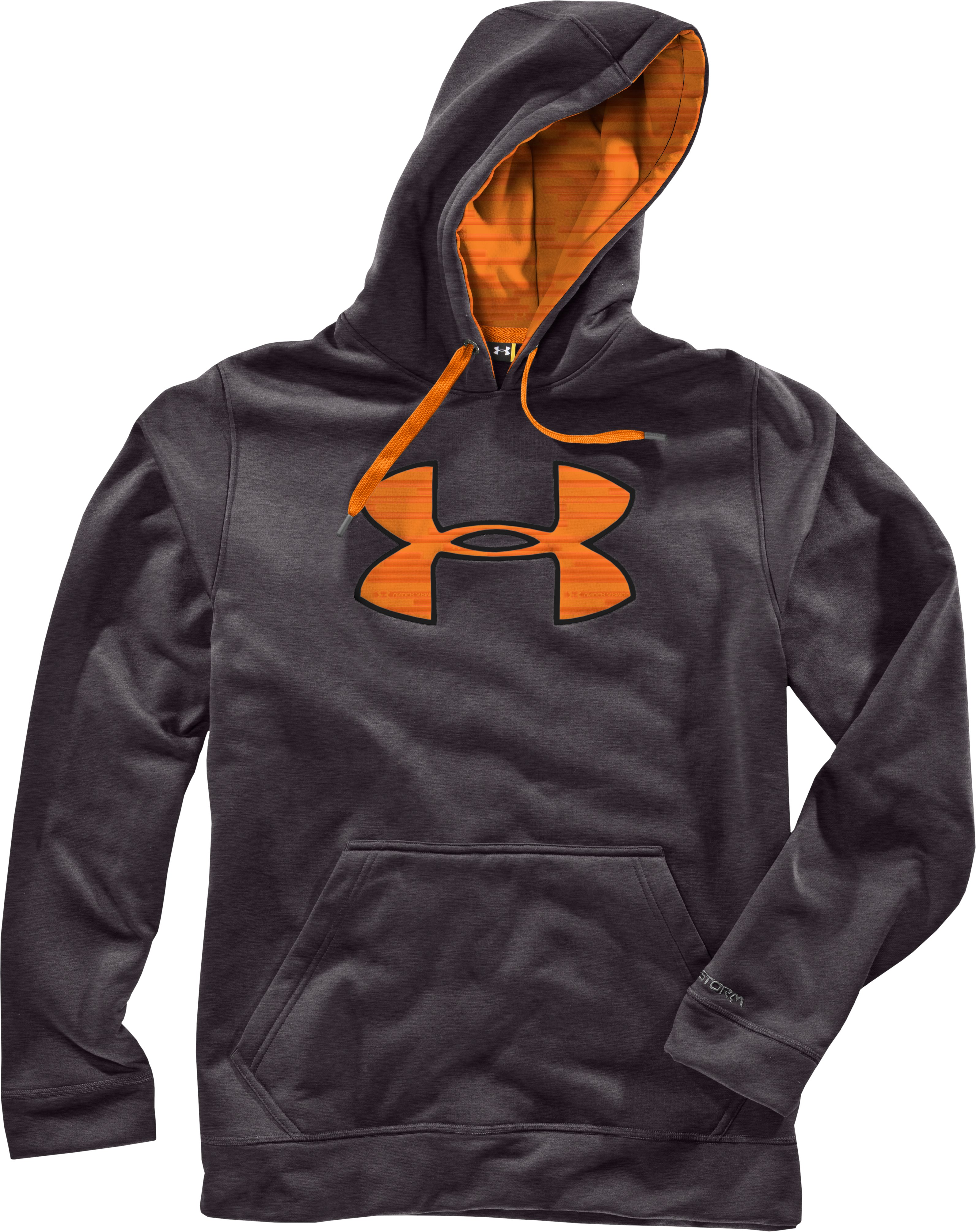 Men's Armour® Fleece Storm Big Logo Hoodie, Carbon Heather, Laydown
