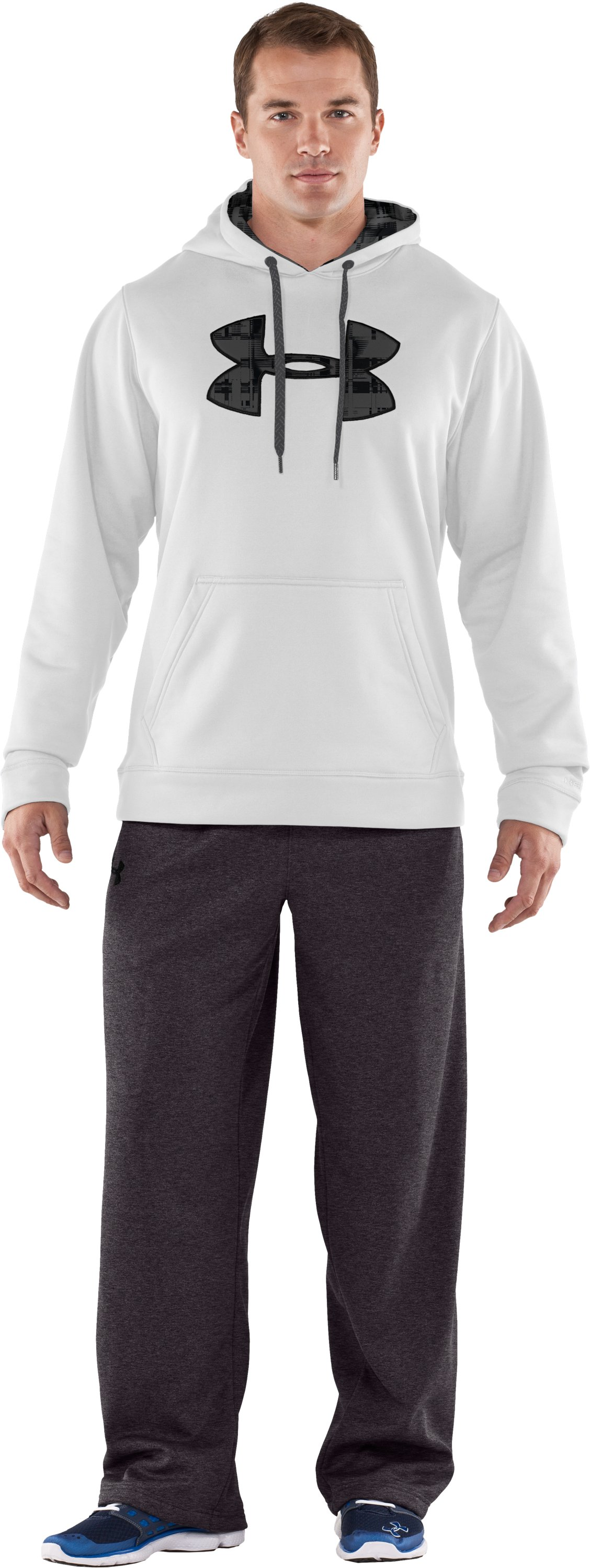 Men's Armour® Fleece Storm Big Logo Hoodie, White, zoomed image