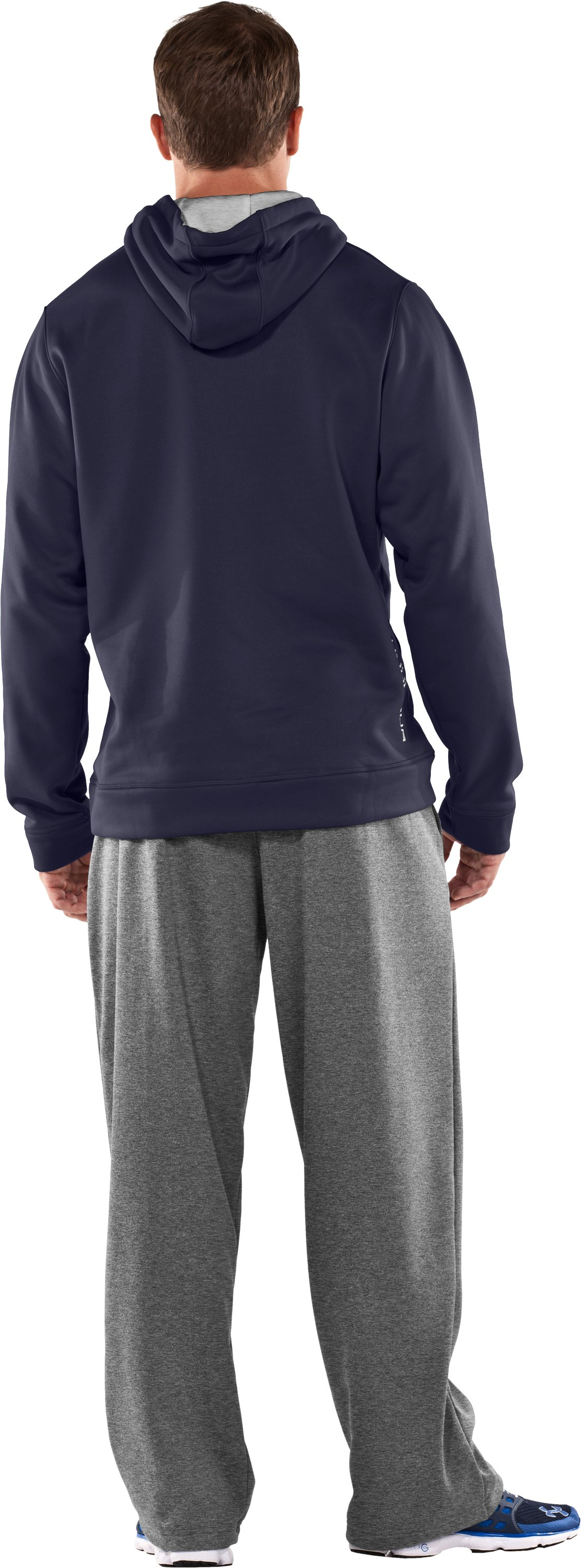 Men's Armour® Fleece Storm Big Logo Hoodie, Midnight Navy, Back