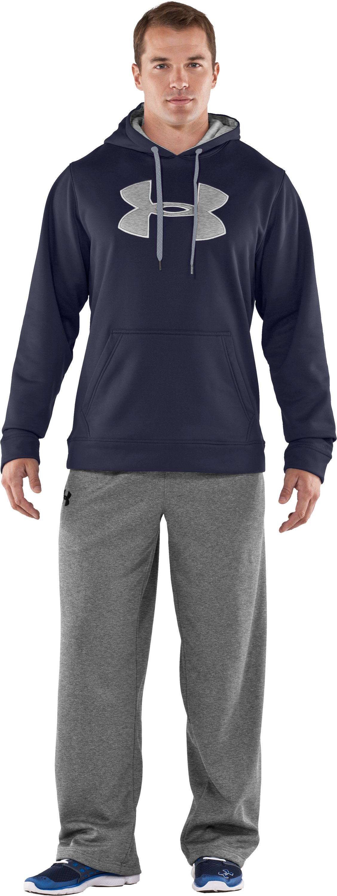 Men's Armour® Fleece Storm Big Logo Hoodie, Midnight Navy, Front