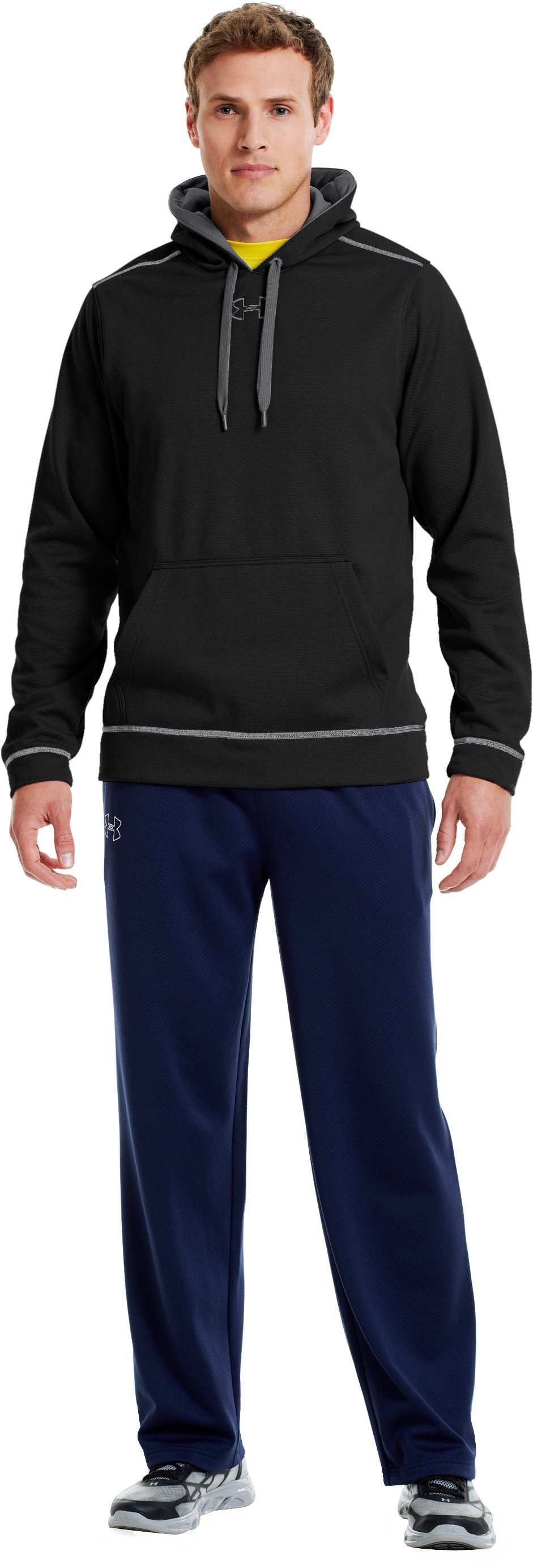 Men's UA Tech™ Fleece Pullover Hoodie, Black , zoomed image
