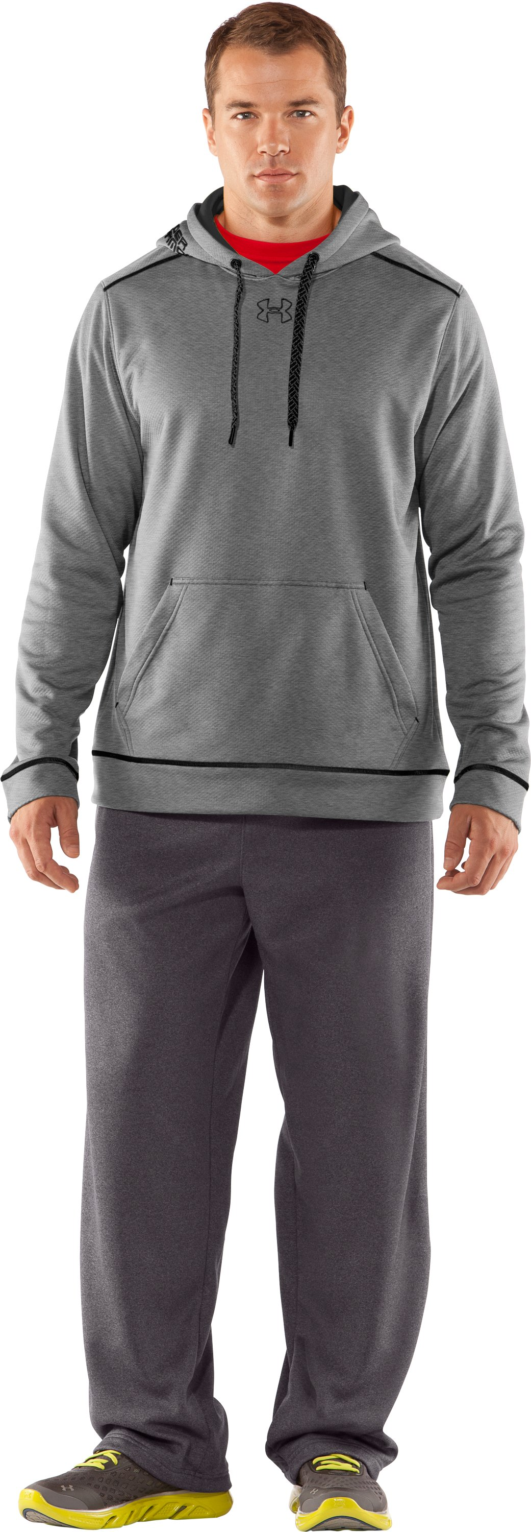 Men's UA Tech™ Fleece Pullover Hoodie, True Gray Heather, Front