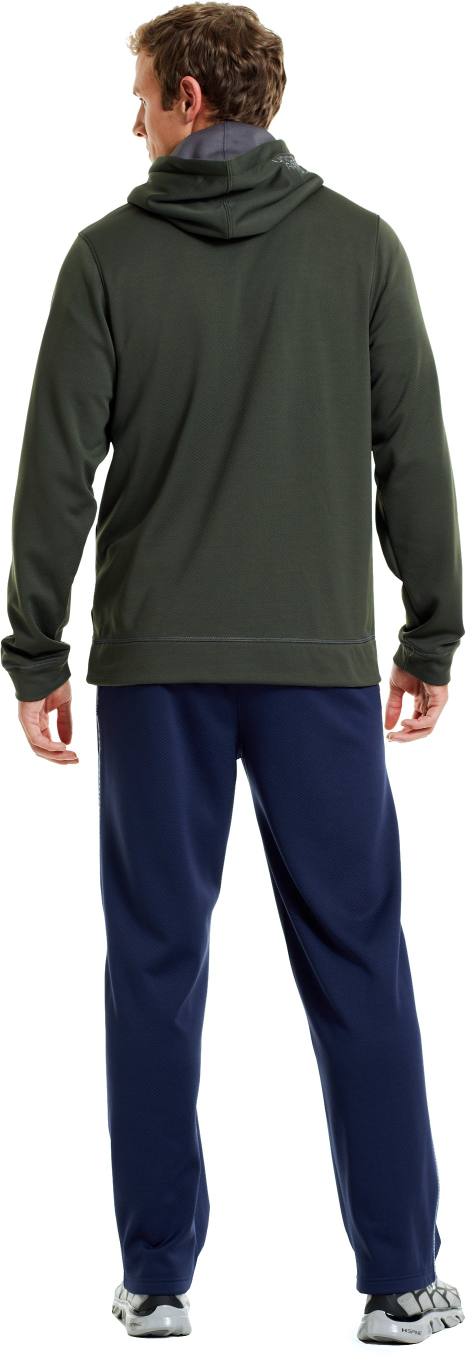 Men's UA Tech™ Fleece Pullover Hoodie, Rifle Green, Back