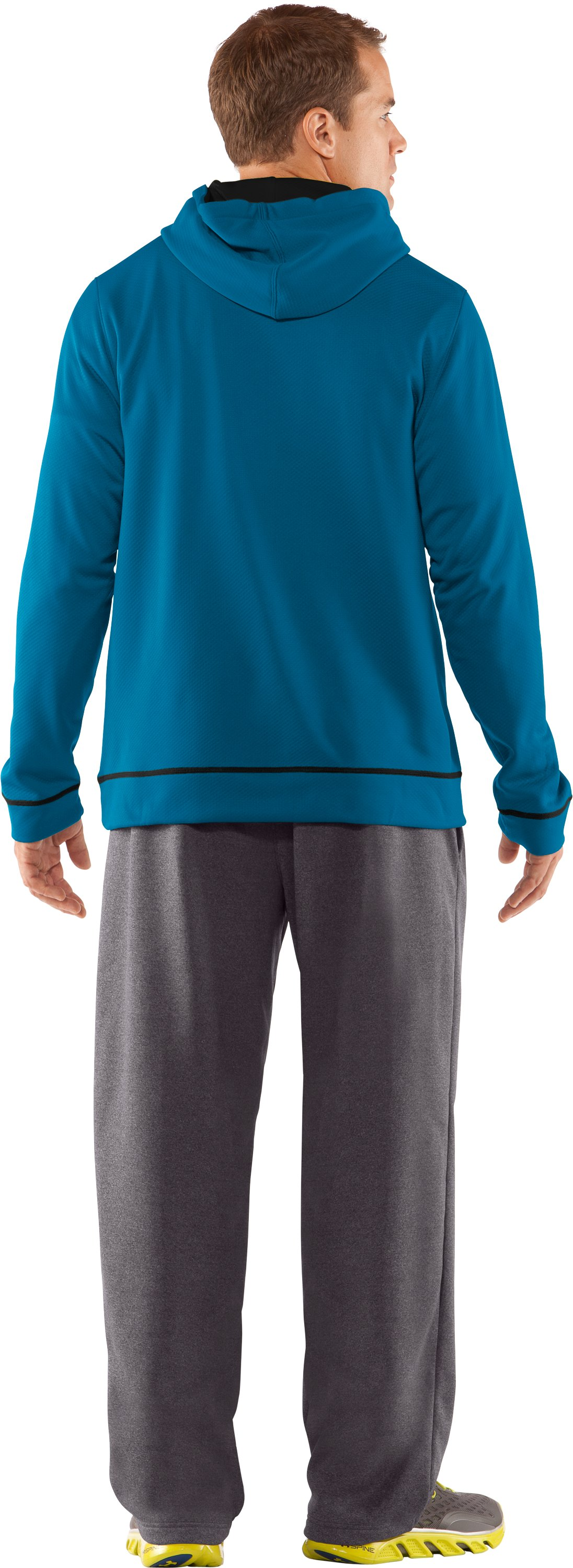 Men's UA Tech™ Fleece Pullover Hoodie, SNORKEL, Back