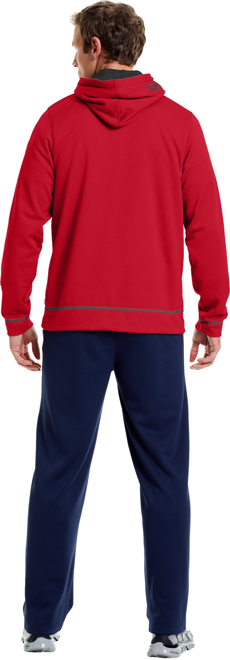 Men's UA Tech™ Fleece Pullover Hoodie, Red, Back