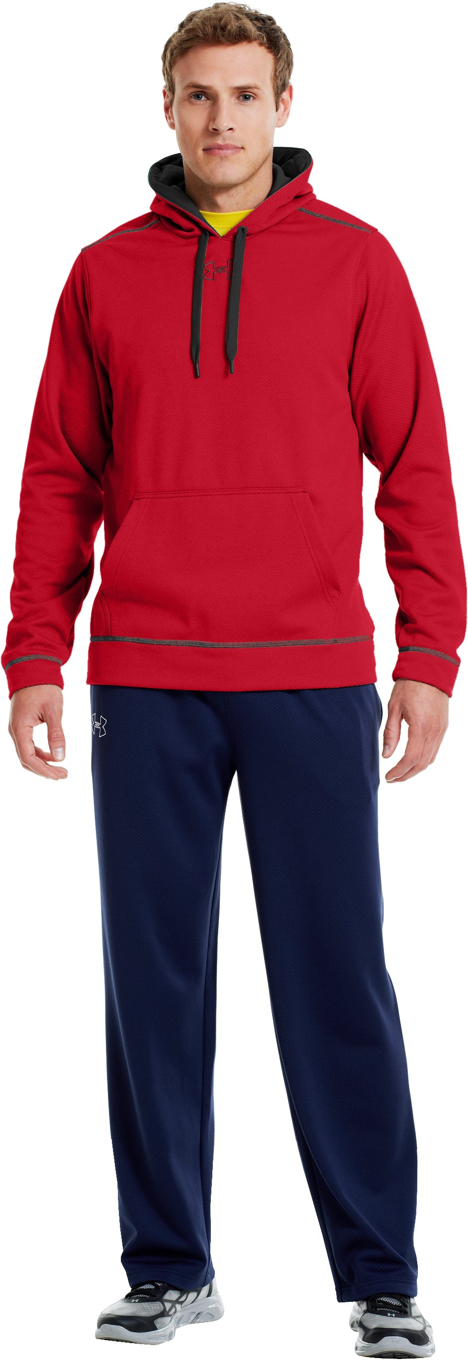 Men's UA Tech™ Fleece Pullover Hoodie, Red, Front
