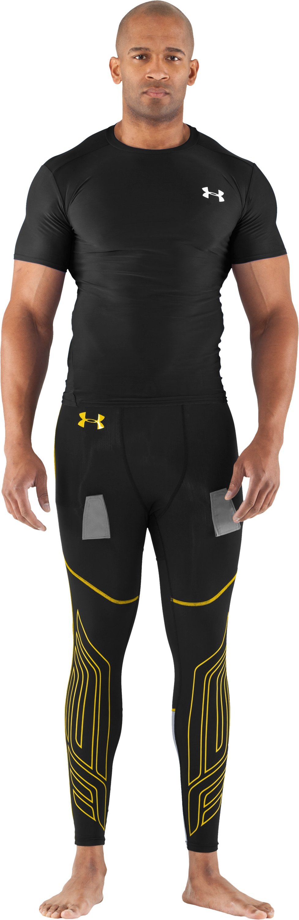Men's UA Hockey Compression Leggings, Black , Front