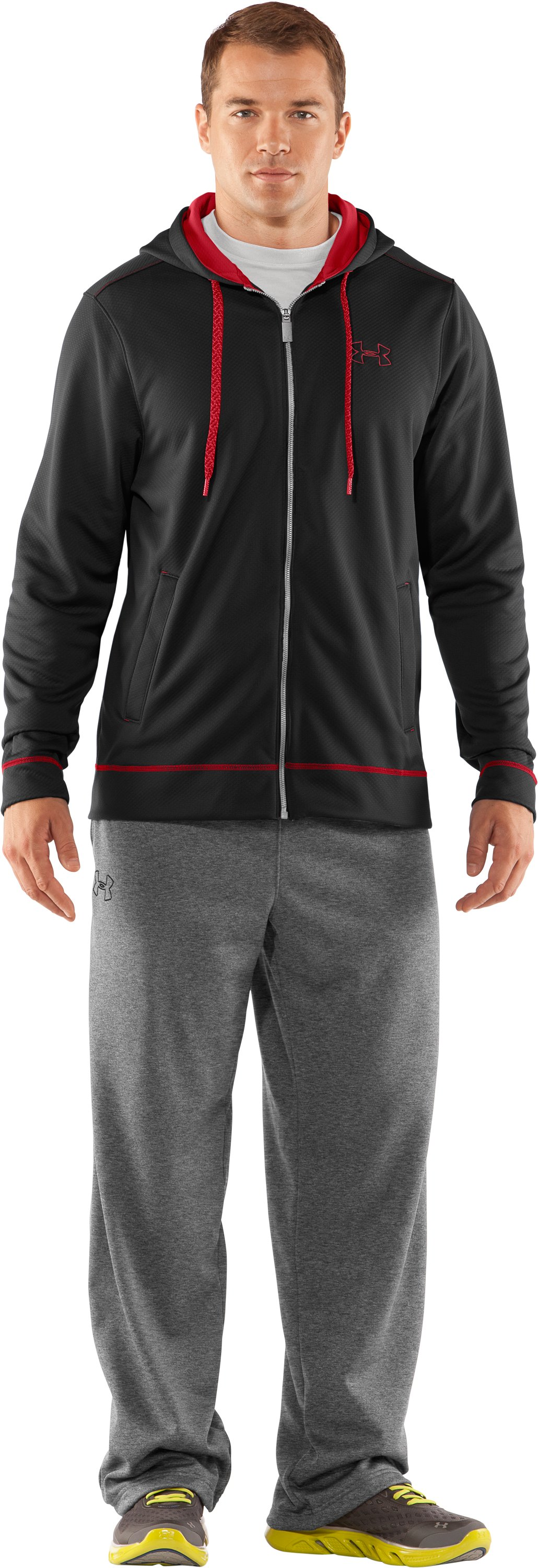 Men's UA Tech™ Fleece Full Zip Hoodie, Black , Front