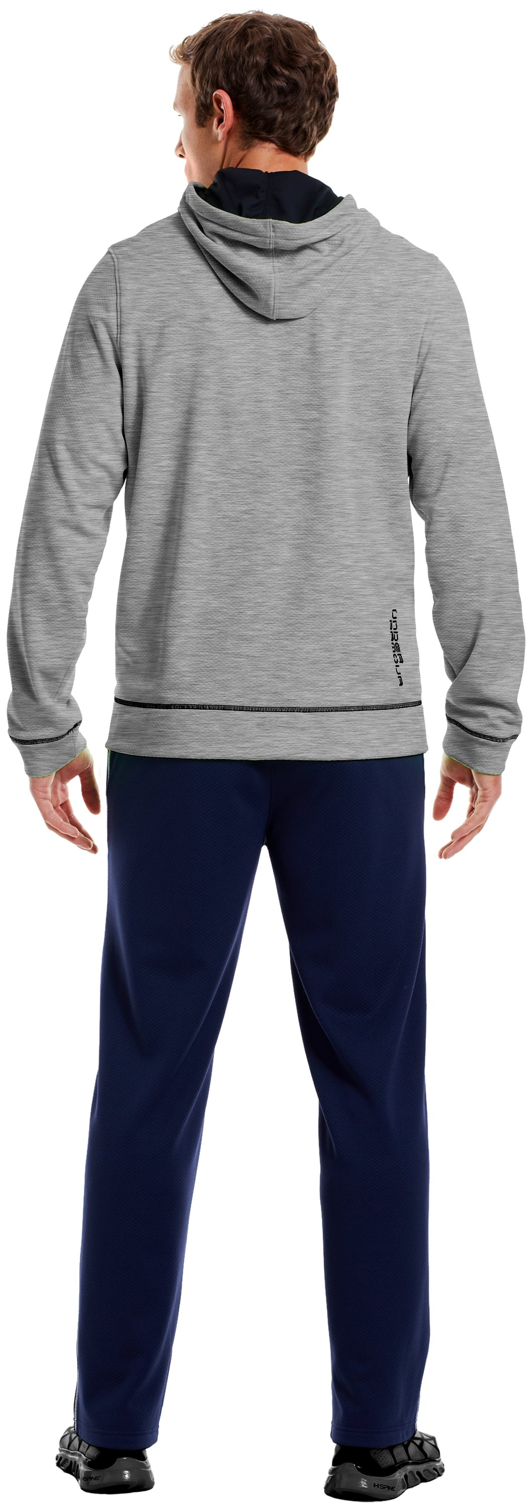 Men's UA Tech™ Fleece Full Zip Hoodie, True Gray Heather, Back