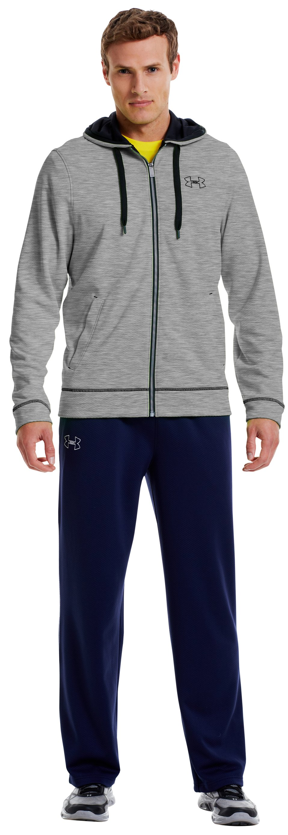 Men's UA Tech™ Fleece Full Zip Hoodie, True Gray Heather, Front