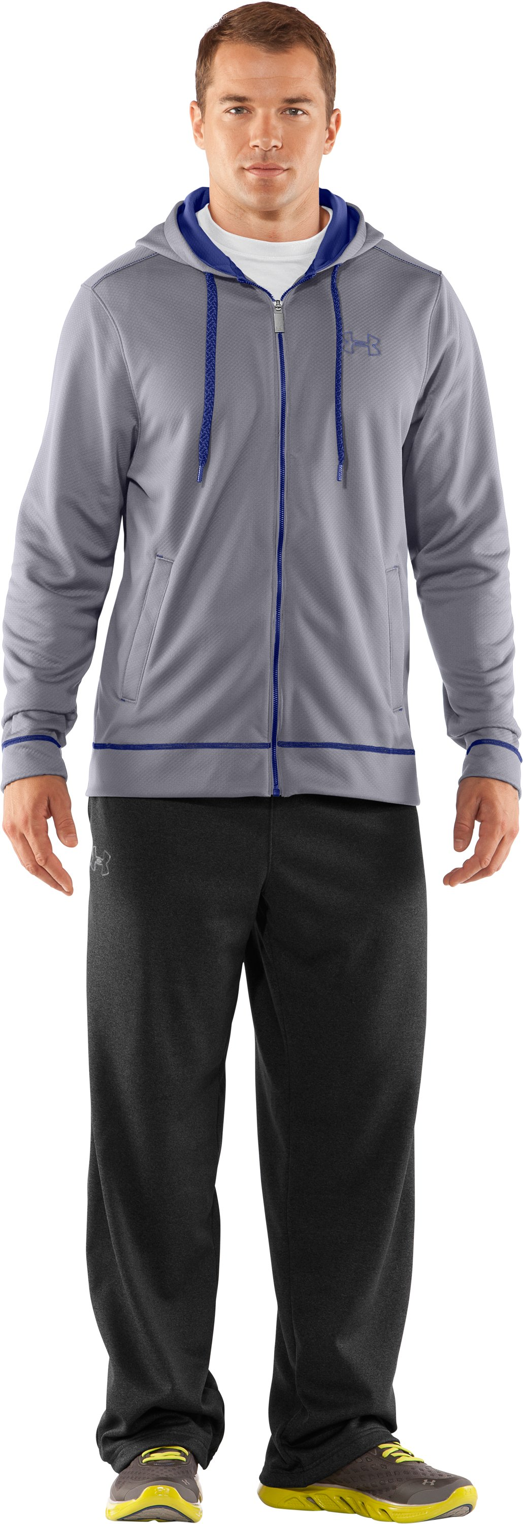 Men's UA Tech™ Fleece Full Zip Hoodie, Aluminum, zoomed image