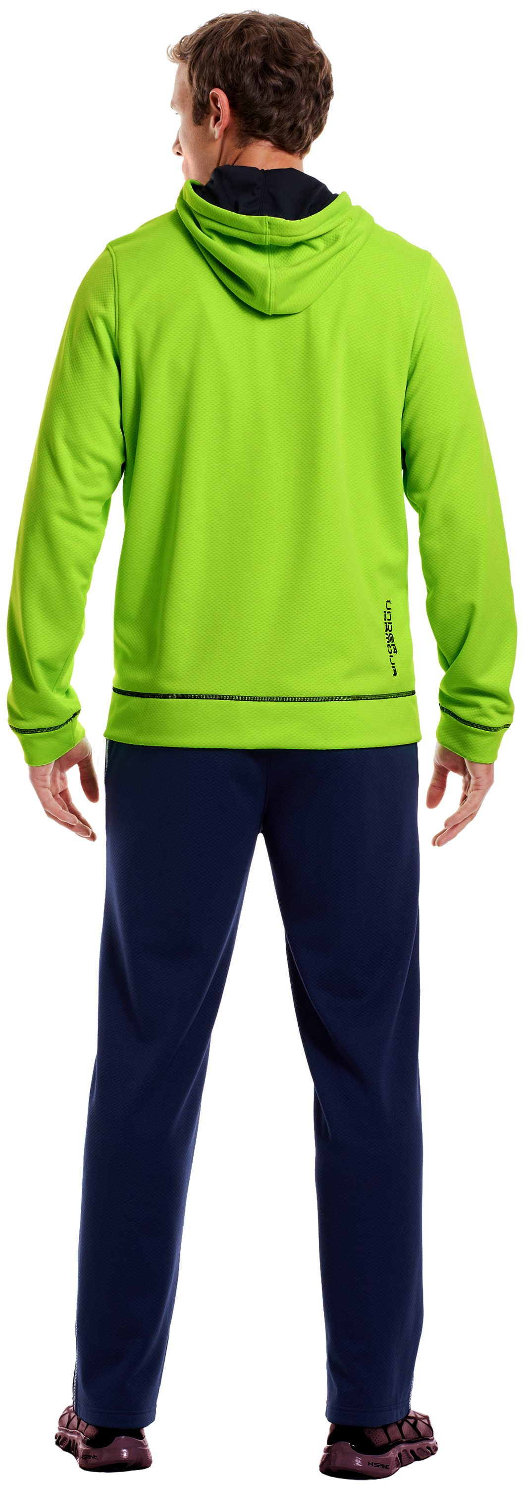 Men's UA Tech™ Fleece Full Zip Hoodie, HYPER GREEN, Back