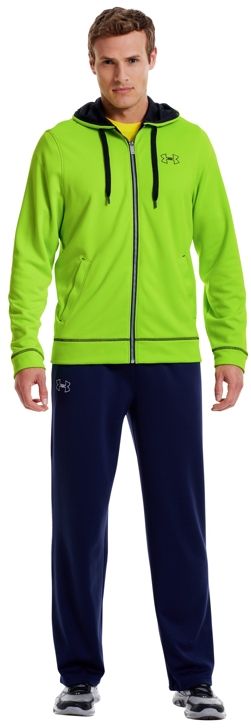 Men's UA Tech™ Fleece Full Zip Hoodie, HYPER GREEN, Front