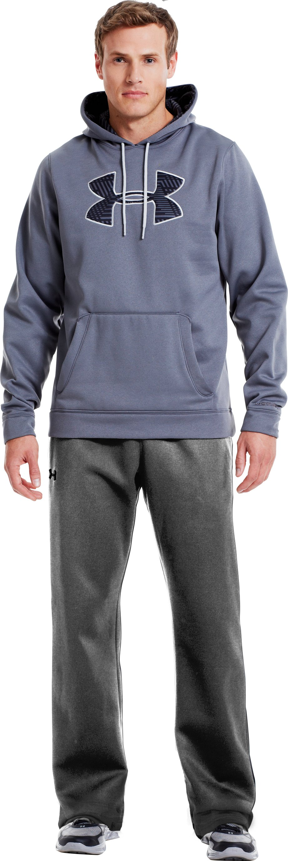 Men's Armour® Fleece Storm Pants, True Gray Heather, Front