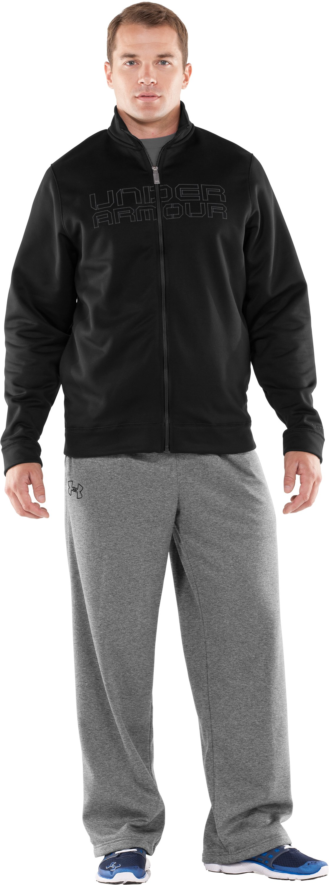 Men's Armour® Fleece Storm Full Zip Jacket, Black , Front