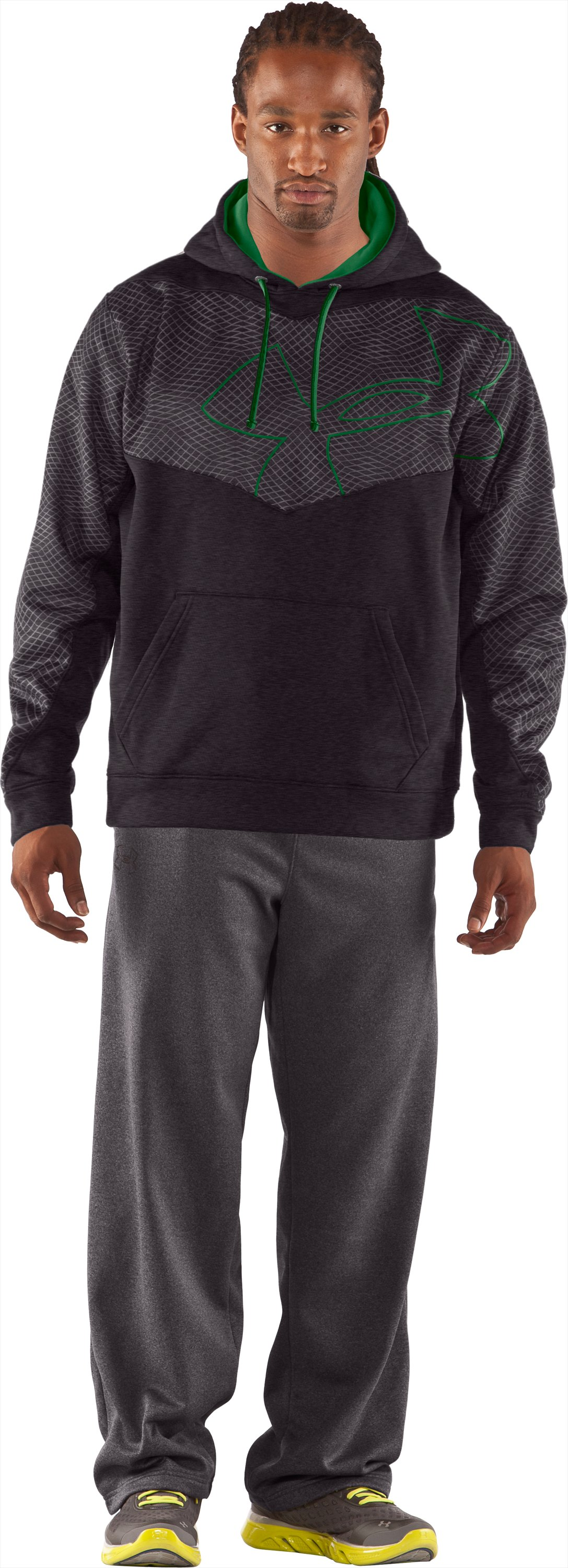 Men's UA Emilystic Pullover Hoodie, Carbon Heather, Front