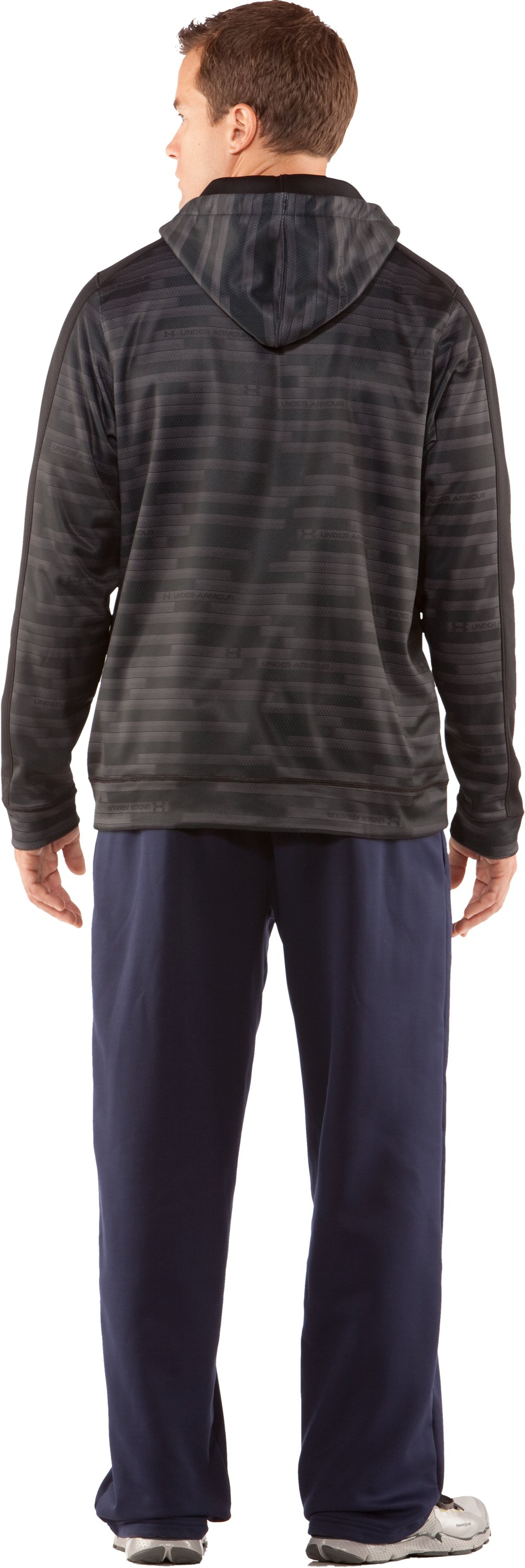 Men's UA Stripetronic Hoodie, Black , Back