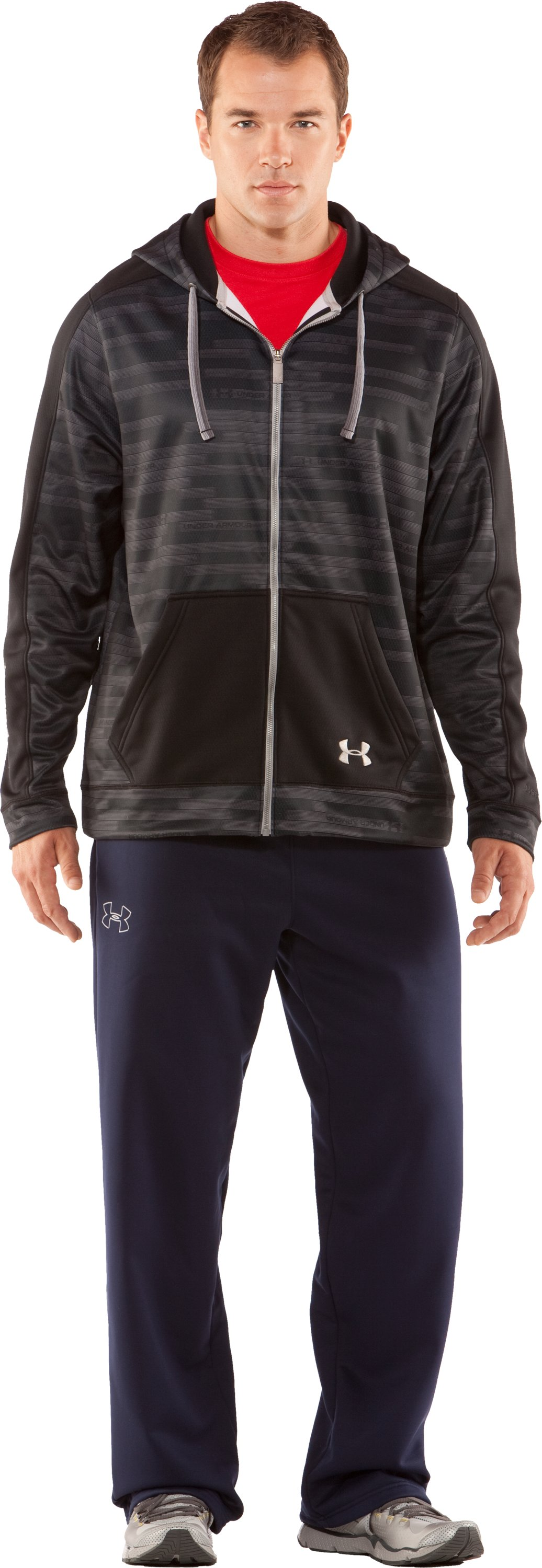 Men's UA Stripetronic Hoodie, Black , zoomed image