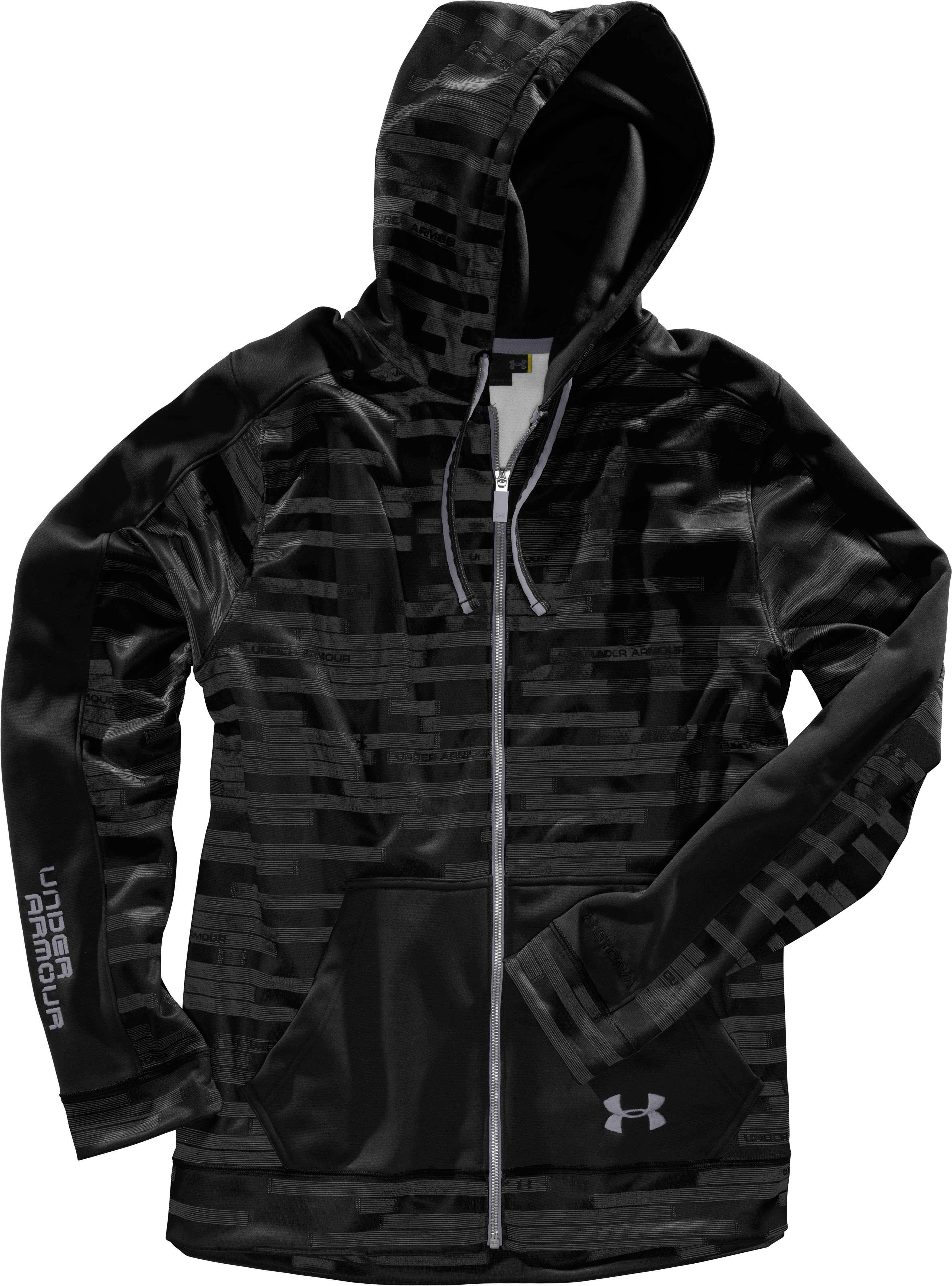 Men's UA Stripetronic Hoodie, Black , Laydown
