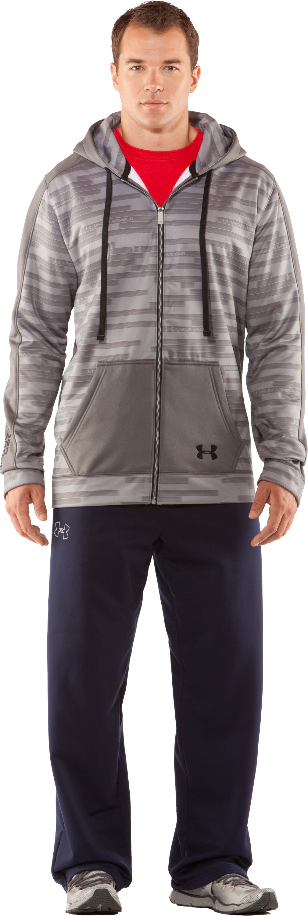 Men's UA Stripetronic Hoodie, Graphite, Front