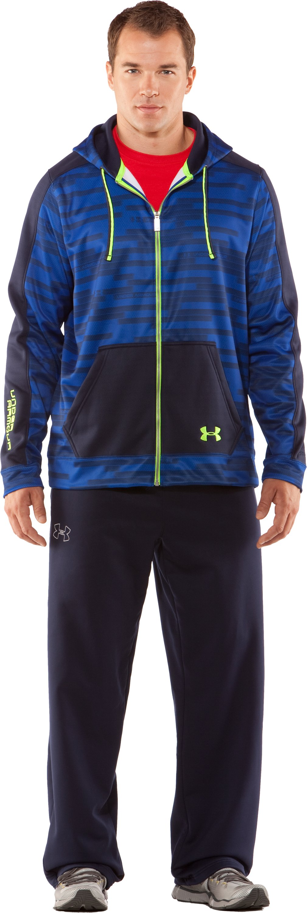Men's UA Stripetronic Hoodie, Midnight Navy, Front