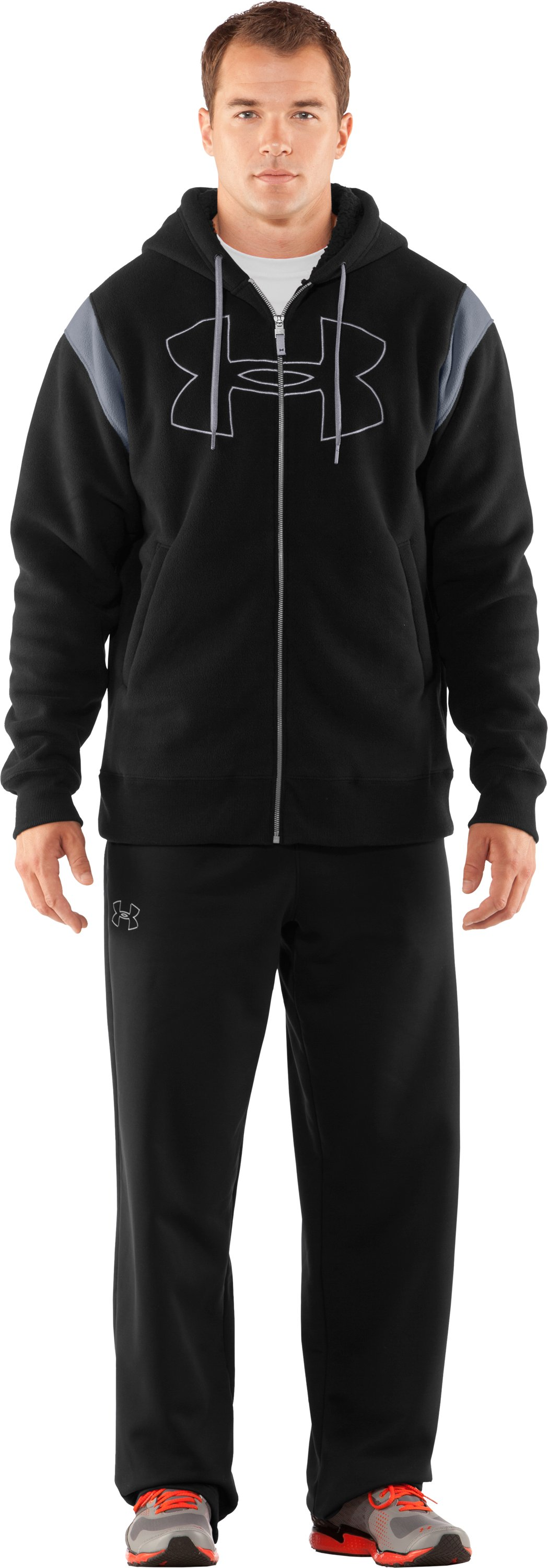 Men's UA Sherpa Big Logo Hoodie, Black , Front
