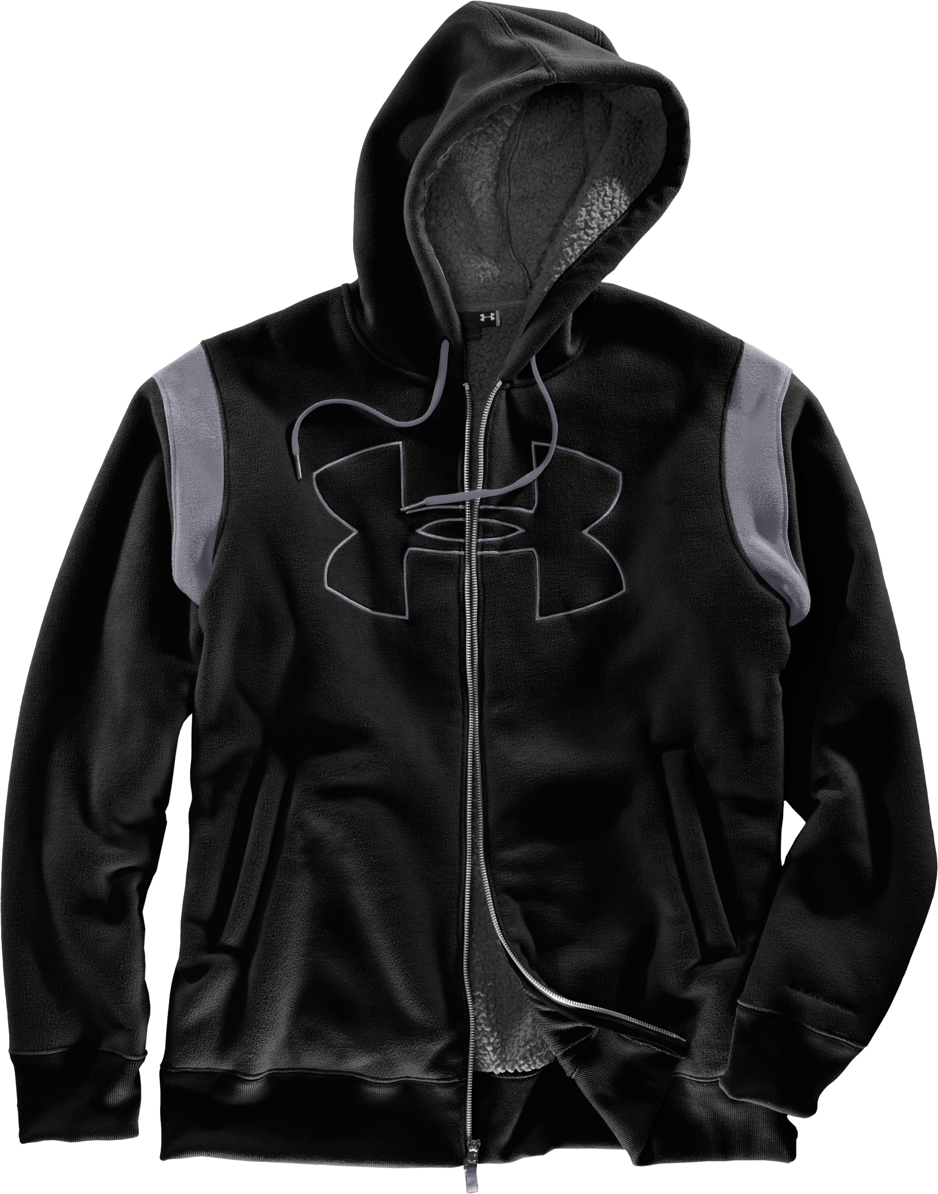 Men's UA Sherpa Big Logo Hoodie, Black , Laydown