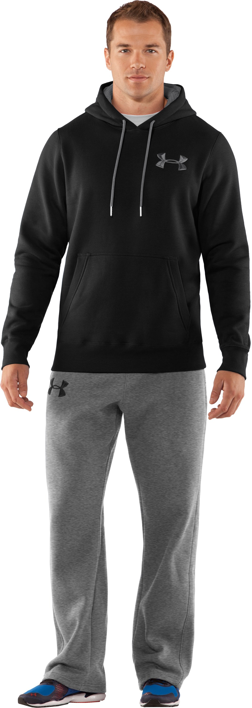 Men's Charged Cotton® Storm Pullover Hoodie, Black , Front