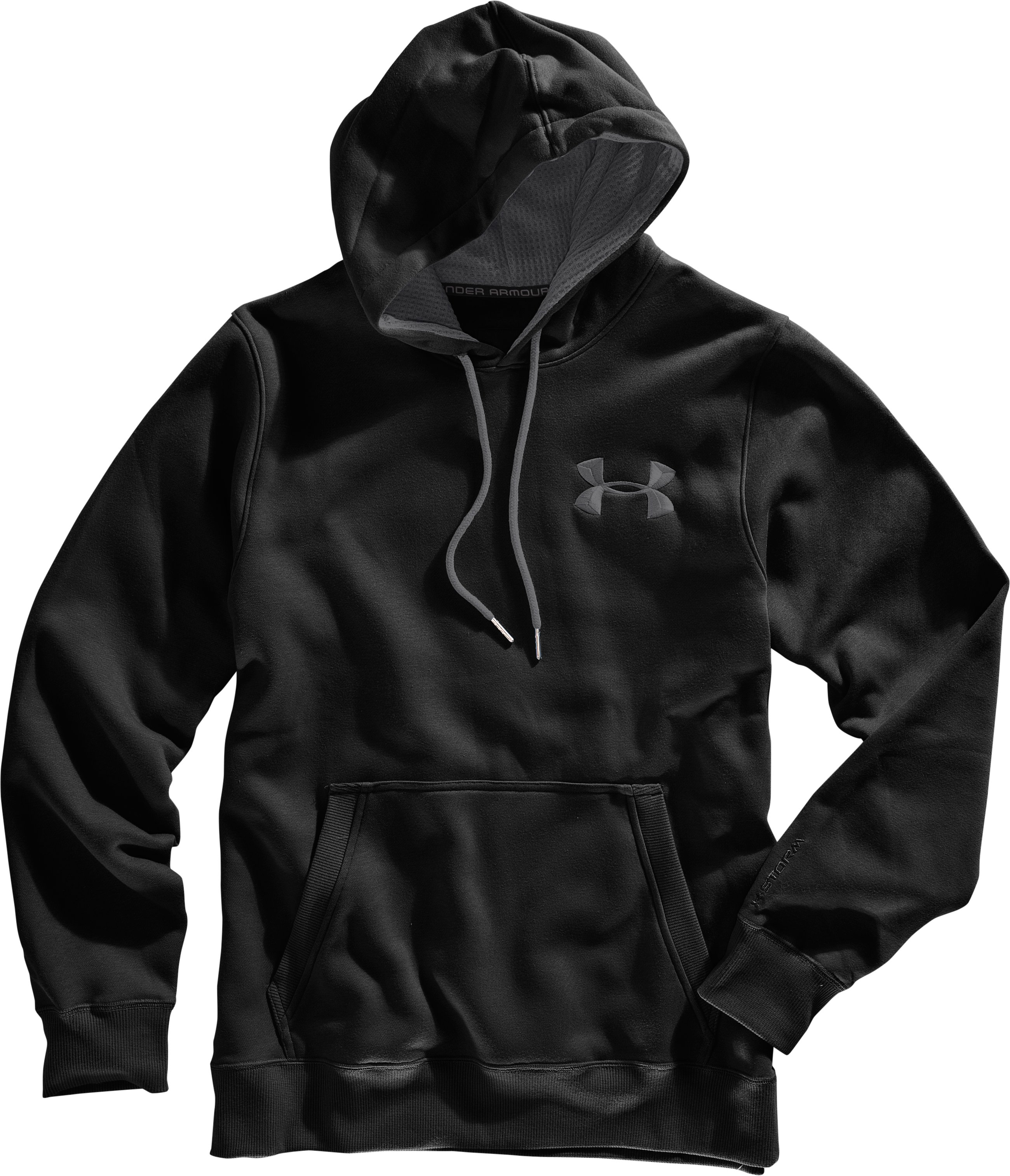 Men's Charged Cotton® Storm Pullover Hoodie, Black , Laydown