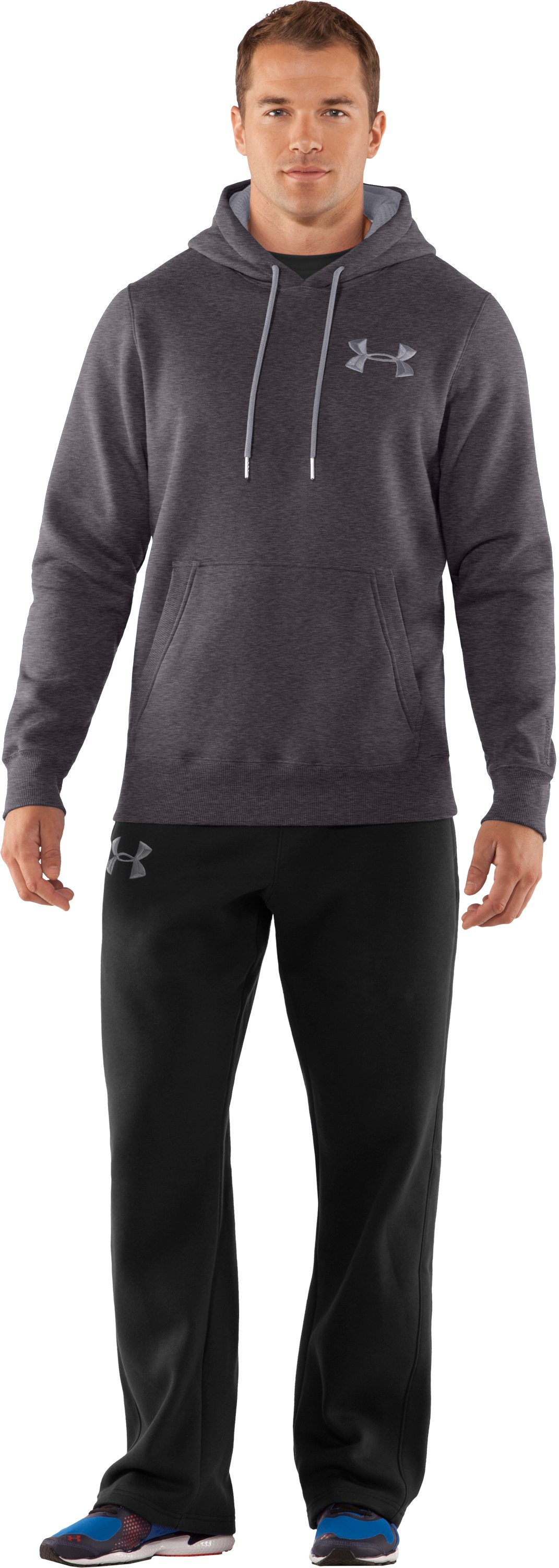 Men's Charged Cotton® Storm Pullover Hoodie, Carbon Heather, Front