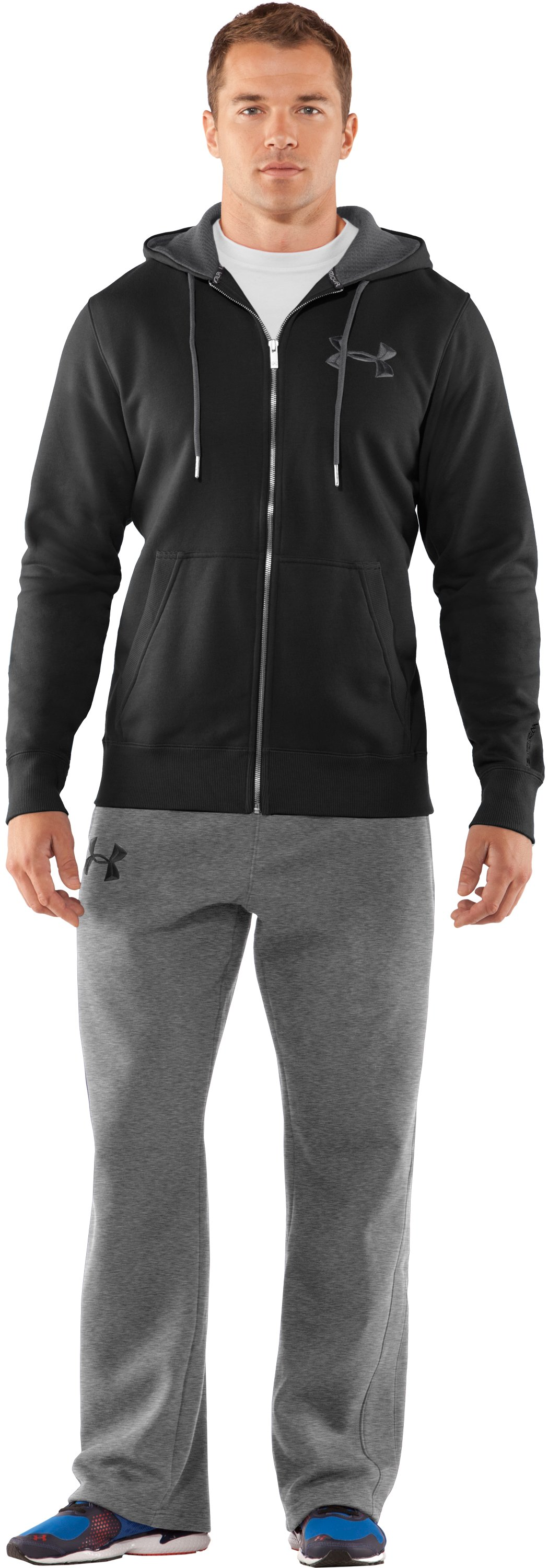 Men's Charged Cotton® Storm Full Zip Hoodie, Black , zoomed image