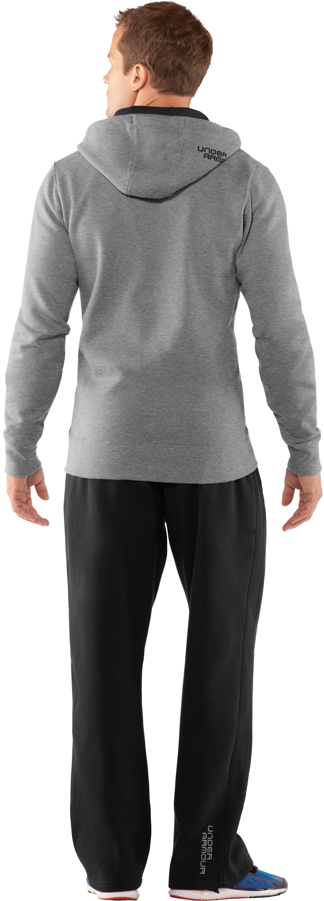 Men's Charged Cotton® Storm Full Zip Hoodie, True Gray Heather, Back