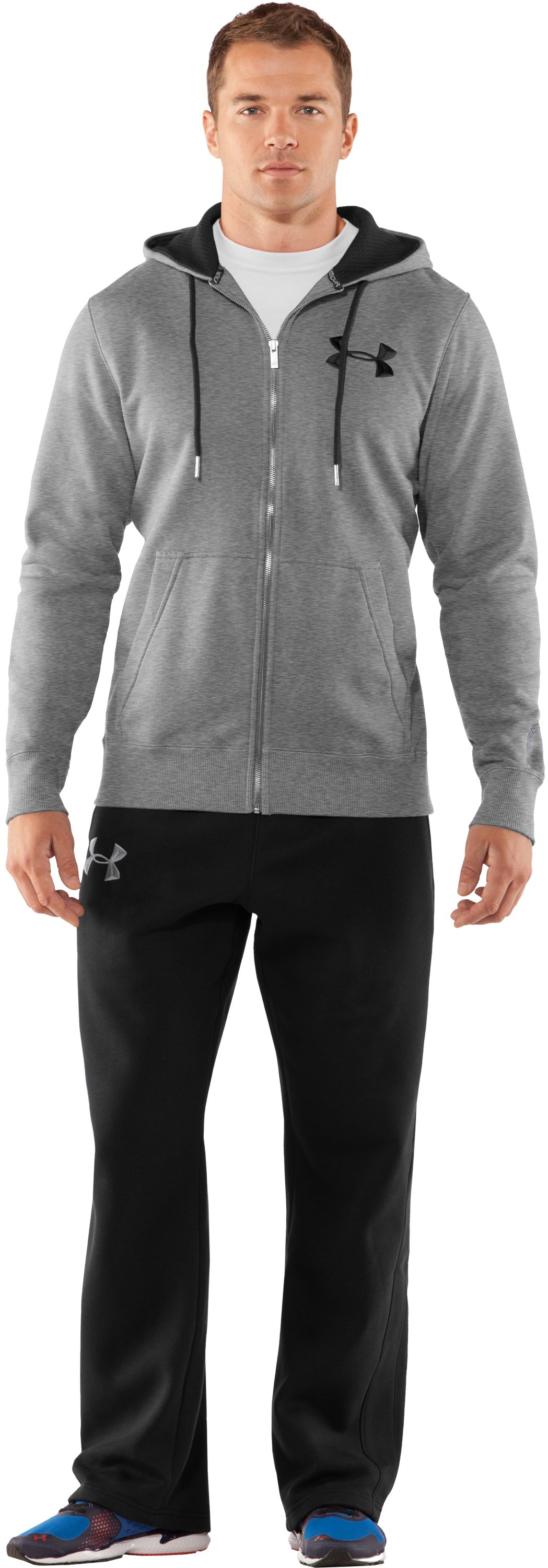 Men's Charged Cotton® Storm Full Zip Hoodie, True Gray Heather, Front