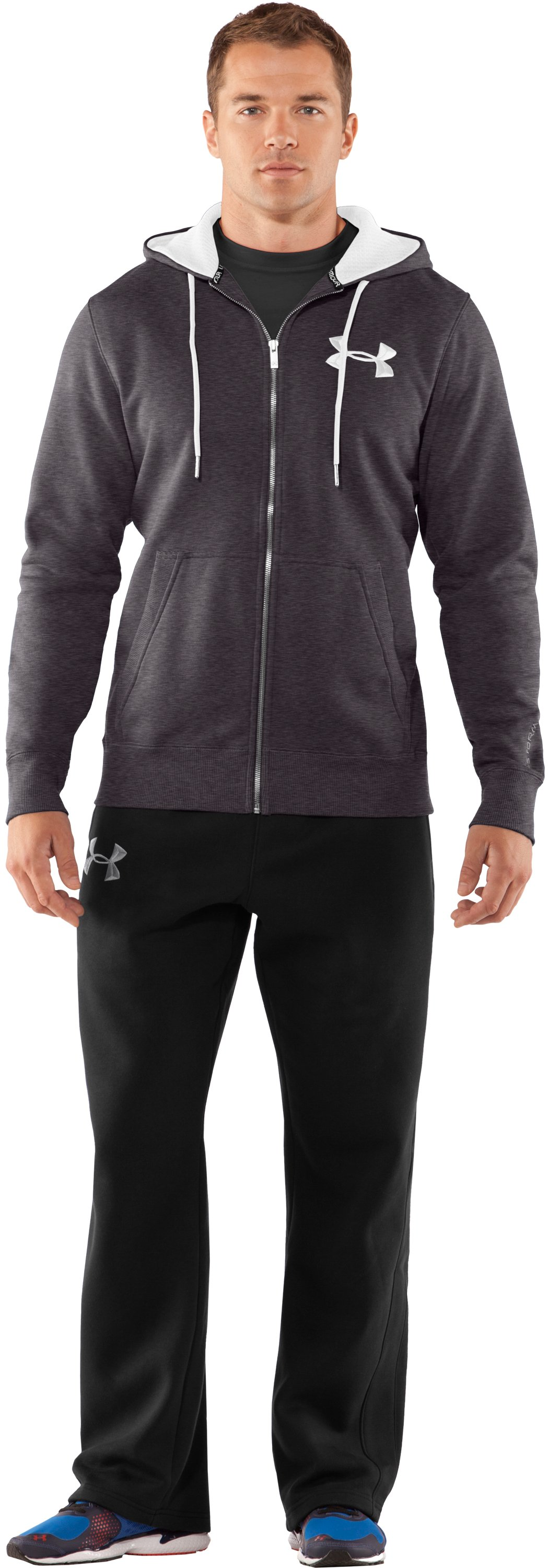 Men's Charged Cotton® Storm Full Zip Hoodie, Carbon Heather, Front