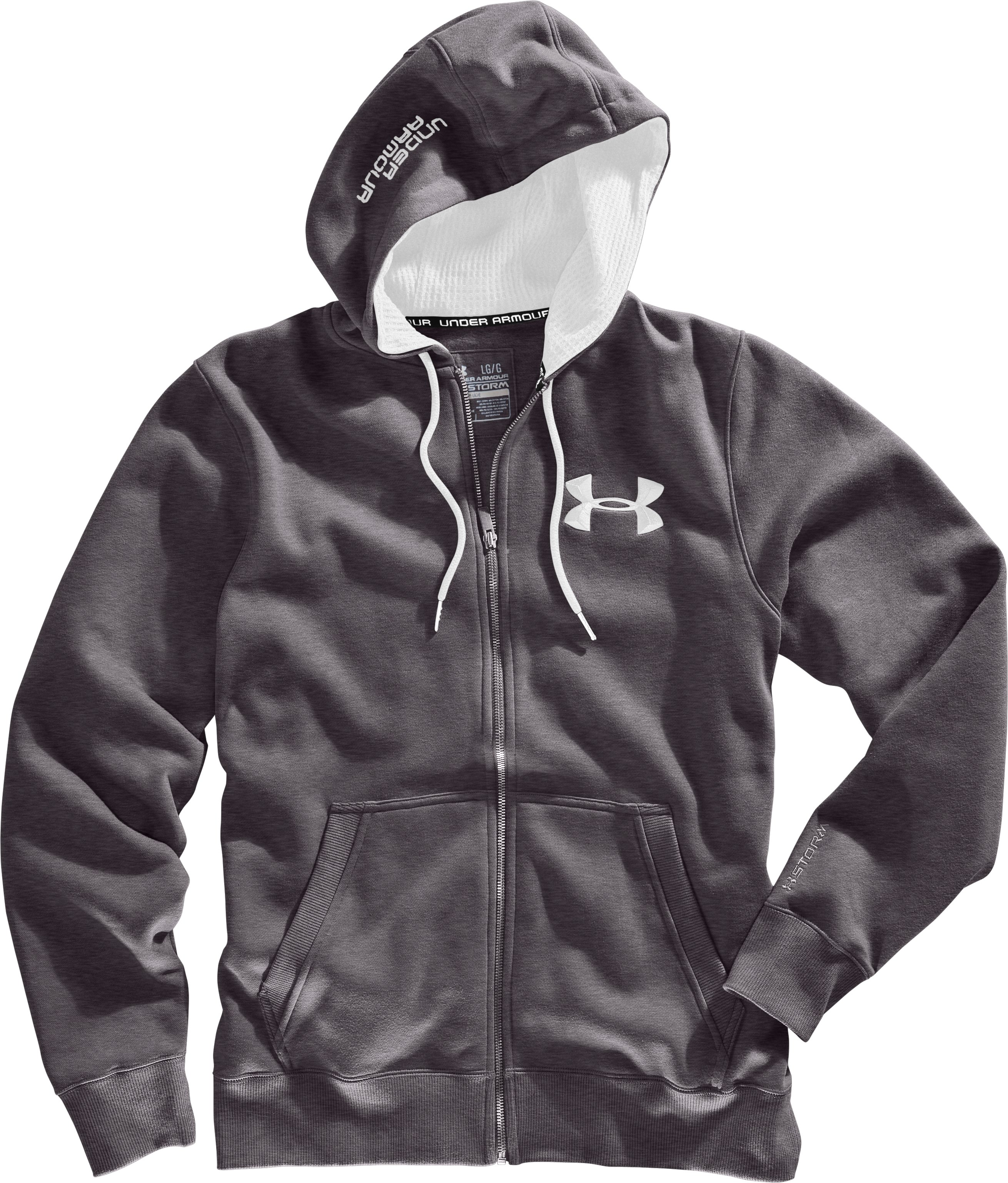 Men's Charged Cotton® Storm Full Zip Hoodie, Carbon Heather, Laydown