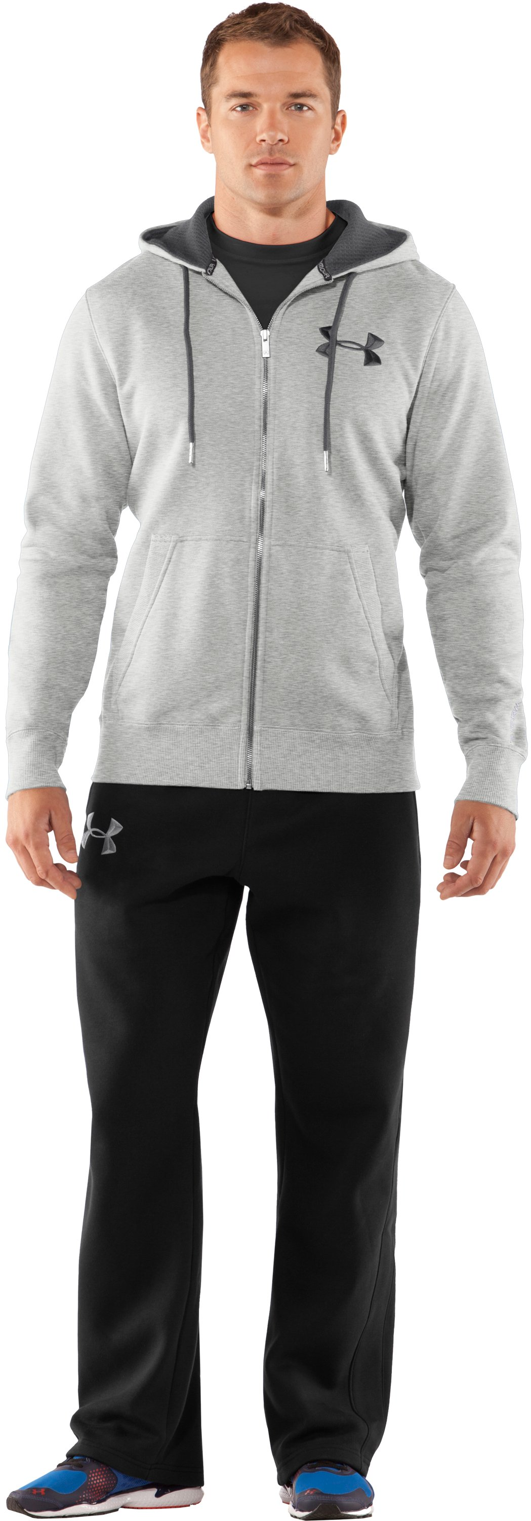 Men's Charged Cotton® Storm Full Zip Hoodie, Silver Heather, Front